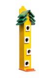 Yellow birdhouse. Bird animal box red nest royalty free stock photography