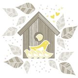 2 yellow birds with kids in front of wooden bird. Yellow birds family with children in front of wooden bird box on white background with beige gray leaves and Vector Illustration