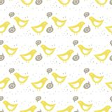 Yellow birds singing of love colorful seamless pat. Yellow birds singing of love on white background with little dots romantic love marriage wedding seamless Royalty Free Stock Image