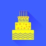 Yellow Birthday Cake Icon Royalty Free Stock Photography