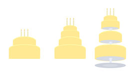 Yellow birthday cake in three variations. Yellow birthday cakes in two layer, four layer, and tier separated styles vector illustration