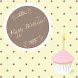 Yellow birthday card. Birthday card with polka dot background and a cupcake with a candle Royalty Free Stock Photo