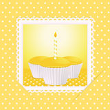 Yellow birthday cupcake card Royalty Free Stock Images