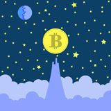 Yellow Bitcoin Icon on Blue Sky Background. Yellow Bitcoin Icon on Starry Blue Sky Background Royalty Free Stock Photography