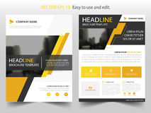 Yellow black abstract brochure annual report flyer design template vector, Leaflet cover presentation abstract flat background. Layout in A4 size Stock Photography