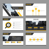 Yellow black Abstract presentation templates, Infographic elements template flat design set for annual report brochure flyer Stock Photos