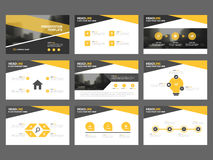 Yellow black Abstract presentation templates, Infographic elements template flat design set for annual report brochure flyer Royalty Free Stock Photos