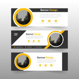 Yellow black abstract triangle corporate business banner template, horizontal advertising business banner layout template Stock Photography