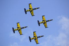 Yellow and Black Air Craft during Blue Sky Stock Photos