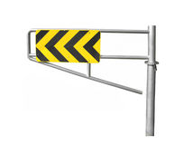 Yellow and black arrow sign isolated. Stock Image