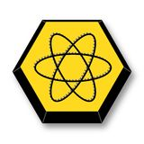 Yellow and Black Atom Element Symbol royalty free stock photography
