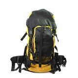Yellow and black backpack isolated on white background Royalty Free Stock Photography