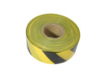 Yellow and black barrier tape. On white background Stock Photos