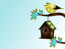 Goldfinch and Birdhouse  Stock Photos