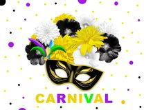 Yellow black bright flowers and black gold carnival mask on white dotted background. Illustration Stock Image