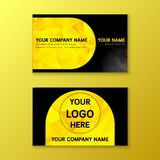 Yellow and black business namecard. With polygon background royalty free illustration