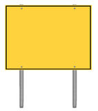 Yellow and black caution road sign Royalty Free Stock Photography