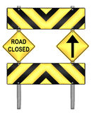 Yellow and black caution road sign Stock Photography