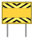 Yellow and black caution road sign Royalty Free Stock Photo