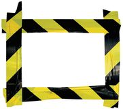 Yellow Black Caution Warning Tape Notice Sign Frame, Horizontal Adhesive Sticker Background, Diagonal Hazard Stripes Signal Safety. Attention Concept, Isolated Royalty Free Stock Photos