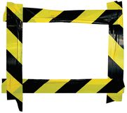 Yellow Black Caution Warning Tape Notice Sign Frame, Horizontal Adhesive Sticker Background, Diagonal Hazard Stripes Signal Safety. Attention Concept, Isolated royalty free stock photography