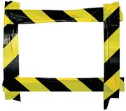 Yellow Black Caution Warning Tape Notice Sign Frame, Horizontal Adhesive Sticker Background, Diagonal Hazard Stripes Signal Safety. Attention Concept, Isolated Stock Photo