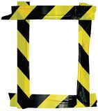Yellow Black Caution Warning Tape Notice Sign Frame, Vertical Adhesive Sticker Background, Diagonal Hazard Stripes Signal Safety. Attention Concept, Isolated Royalty Free Stock Photos