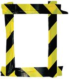 Yellow Black Caution Warning Tape Notice Sign Frame, Vertical Adhesive Sticker Background, Diagonal Hazard Stripes Signal Safety. Attention Concept, Isolated royalty free stock photography