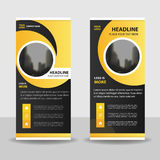 Yellow black Circle roll up business brochure flyer banner design , cover presentation abstract geometric background, Stock Photo