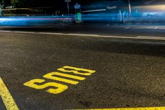 Yellow and Black Concrete Road Stock Photography