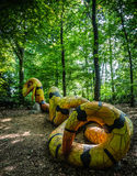 A yellow and black concrete snake Royalty Free Stock Photo
