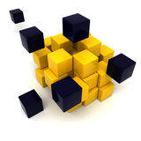 Yellow and black cubic background. 3D rendering of a black and yellow cubic background Stock Photos