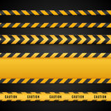 Yellow and black danger tapes. Caution lines isolated. Vector illustration Royalty Free Stock Photo
