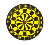 Yellow and black dartboard isolated on white background Stock Photography