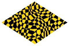 Yellow and black diamond shape. Colored by gel pens, white background Royalty Free Stock Photos