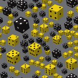 Yellow Black Dice Seamless Pattern, 3D illustration. On Grey Background royalty free illustration