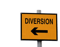 Yellow and black diversion sign Royalty Free Stock Images