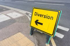 Yellow and black diversion sign royalty free stock image