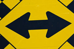 Yellow Black Double Arrow Road Sign Highway Sign Stock Images