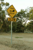 Yellow and black Ducks Crossing - Slow sign Stock Photos