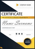 Yellow black Elegance horizontal certificate with Vector illustration ,white frame certificate template with clean and modern Stock Images