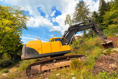 Yellow and Black Excavator Machine Royalty Free Stock Photography