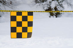 Yellow and black flag Royalty Free Stock Image
