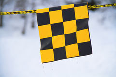 Yellow and black flag Stock Photo