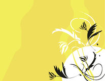 Yellow black floral. Black yellow and white floral background Stock Illustration