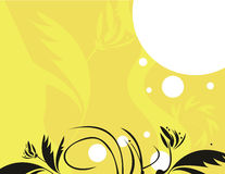 Yellow black floral background. Black and yellow floral designs with white dots on a yellow background vector illustration