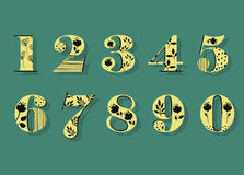Yellow and Black Floral Numbers Stock Photos