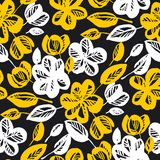 Yellow and black flowers repeatable motif vector illustration