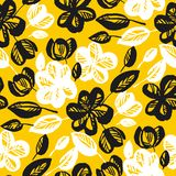 Yellow and black flowers repeatable motif royalty free illustration
