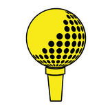 Yellow and black golf ball, graphic. Yellow and black golf ball front view over isolated background, illustration stock illustration